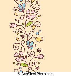 vertical, modèle, feuilles, seamless, fond, fleurs, frontière