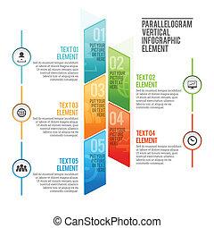 vertical, parallélogramme, infographic