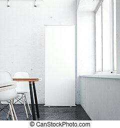 vertical, rendre, interior., blanc, café, bannière, 3d