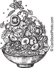 vertical, salade, ingrédients, sain, voler, plat