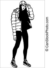 veste, bas, girl, casquette
