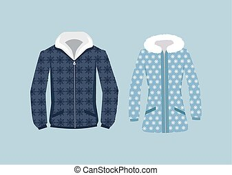 veste, femme, mâle, hiver