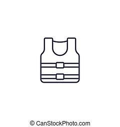 veste, vie, icône, ligne, blanc