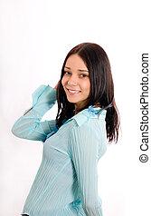 veston bleu, girl