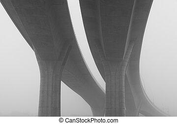 viaduc, autoroute, brume