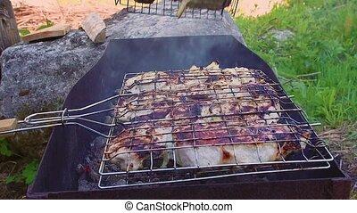 viande, appétissant, grilles, grill., tourné, grillé, sur