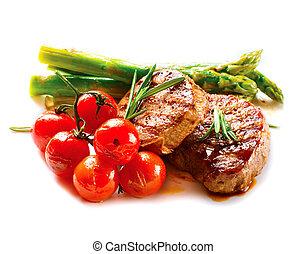 viande, boeuf, légumes, steak., grillé, barbecue, bifteck, barbecue