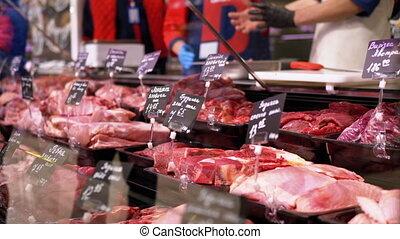 viande, coût, vendeurs, vitrine, magasin, cru, étiquettes, frais