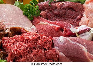 viande fraîche, fond, cru