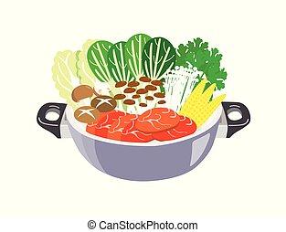 viande, isolé, blanc, arrière-plan., pot, légumes, chaud