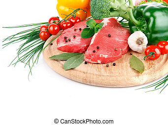 viande, légumes, isolé, cru, fond, frais, blanc