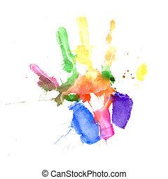 vibrant, couleurs, handprint