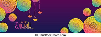vibrant, diwali, créatif, couleurs, fond, bannière