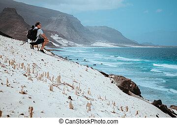 vicente, gatas, volcanique, sao, scénique, pittoresque, photographe, dunes, das, moment, calhau, baia, sable, appareil photo, paysage, côtier, île, cap vert, apprécier, cliffs.