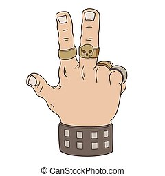 victoire, geste, main