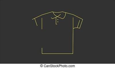 vidéo, 4k, arrière-plan., isolé, noir, icône, ligne, mouvement, t-shirt, blanc