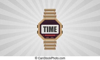 vidéo, arrière-plan., 4k, retro, isolé, montre, icône, mouvement, poignet, blanc