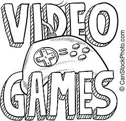 vidéo, croquis, jeux