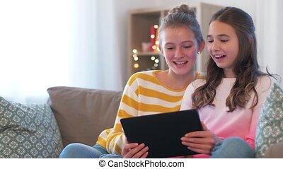 vidéo, filles, bavarder, pc, avoir, adolescent, tablette