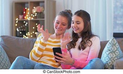 vidéo, filles, smartphone, bavarder, avoir, adolescent