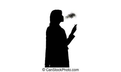 vidéo, fond, fumer, isolé, femme, silhouette, blanc