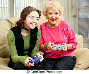 vidéo, grand-maman, jeu, amusement