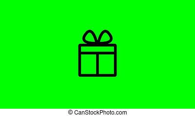 vidéo, icône, arrière-plan., cadeau, animation, 4k, vert