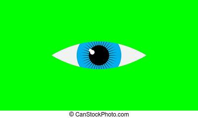 vidéo, icône, onen, arrière-plan., icon., oeil fermé, animation, 4k, vert