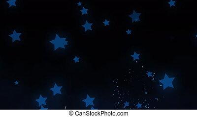 vidéo, noir, en mouvement, feux artifice, étoiles, digitalement, fond, exploser, engendré, contre