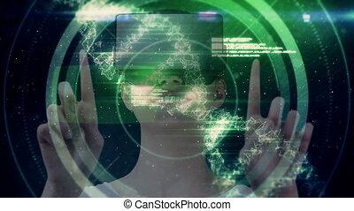 vidéo, numérique, utilisation, vr, adn, femme