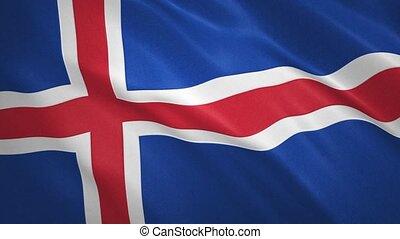 vidéo, onduler drapeau, islande, fond