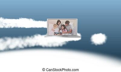 vidéo, ordinateur portable, famille, heureux