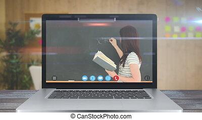 vidéo, prof, ligne, projection, enduisage, école, coronavirus, lesson., pendant, écran, animation
