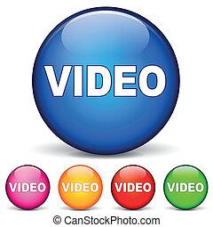 vidéo, rond, icônes
