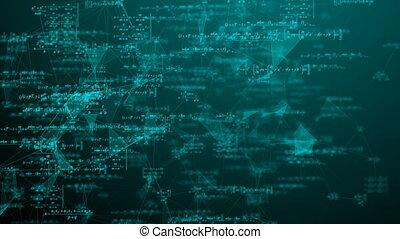 vidéo, science, recherche, mouvement, espace, boucle, mathématique, développement, formules, concepts.