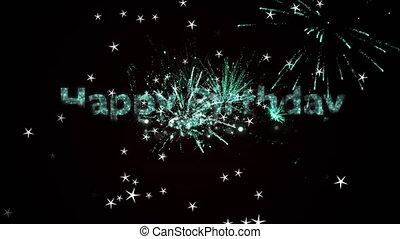 vidéo, texte, noir, backgroun, en mouvement, feux artifice, étoiles, heureux, digitalement, anniversaire, engendré, contre