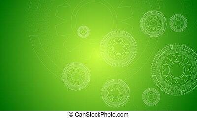 vidéo, vert, animation, technologie, engrenages