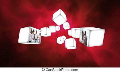 vidéos, cubes, business, dériver