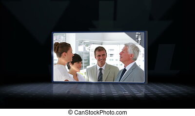 vidéos, parler, equipe affaires