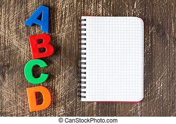 vide, abcd, cahier, orthographe