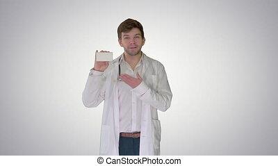 vide, arrière-plan., boîte, marche, pilules, projection, docteur, gradient, blanc mâle