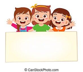 vide, bannière, petites filles, heureux, mignon, gosse