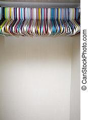 vide, blanc, cintres, placard, coloré