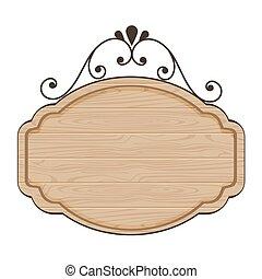 vide, bois, vecteur, conception, signe