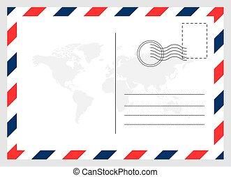 vide, carte postale, arrière-plan., voyage, carte, graphique, moderne, isolé, conception