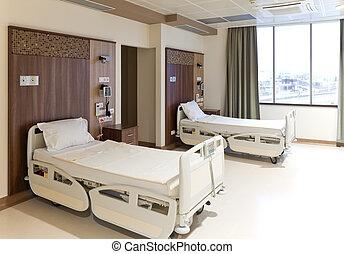 vide, chambre hôpital, moderne