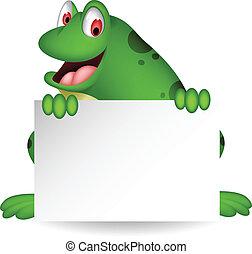 vide, dessin animé, grenouille, signe