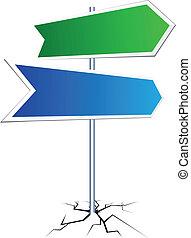 vide, direction, signe.