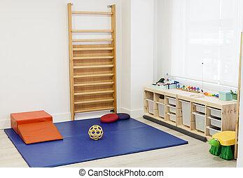 vide, gosses, équipement, rééducation, clinique, physiothérapie