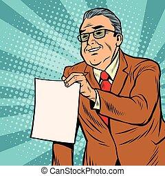 vide, homme affaires, papier, feuille, patron
